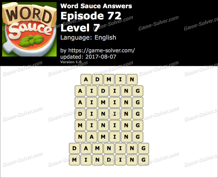 Word Sauce Episode 72-Level 7 Answers