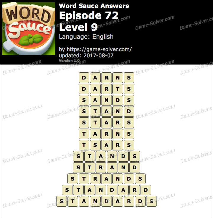 Word Sauce Episode 72-Level 9 Answers