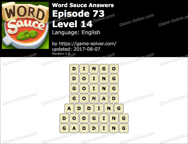 Word Sauce Episode 73-Level 14 Answers