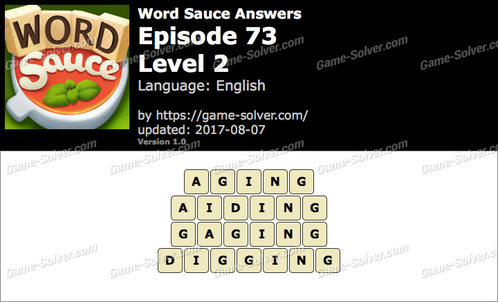 Word Sauce Episode 73-Level 2 Answers