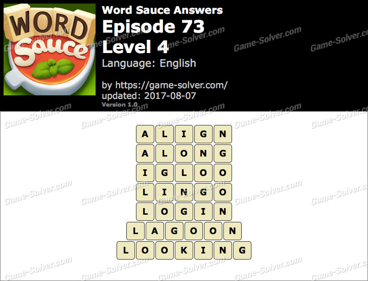 Word Sauce Episode 73-Level 4 Answers