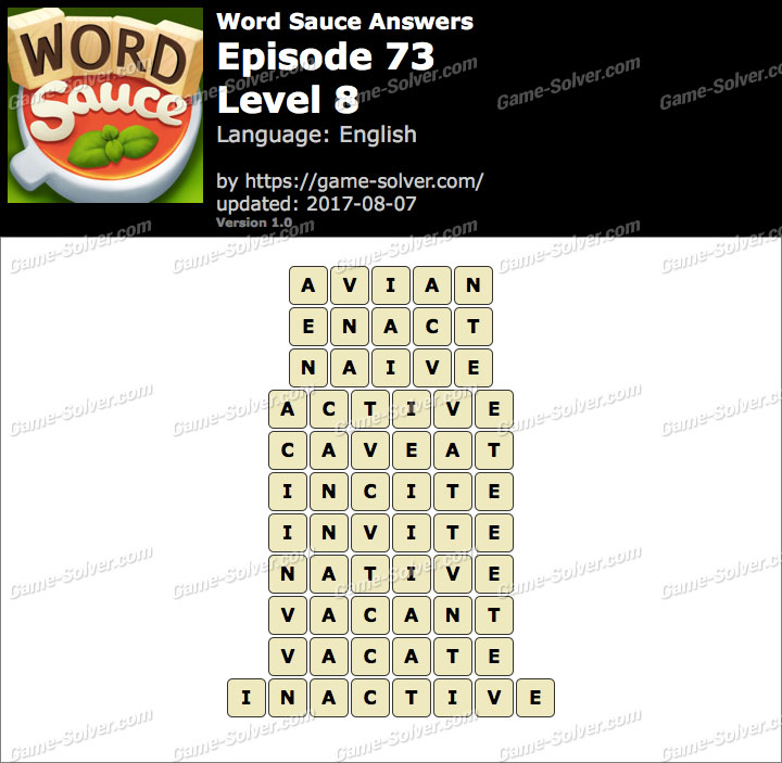 Word Sauce Episode 73-Level 8 Answers