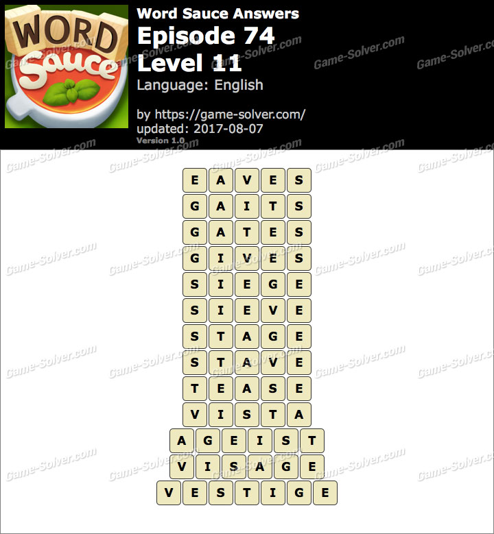 Word Sauce Episode 74-Level 11 Answers