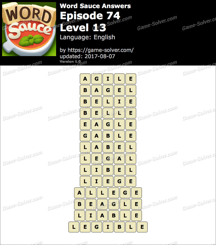 Word Sauce Episode 74-Level 13 Answers