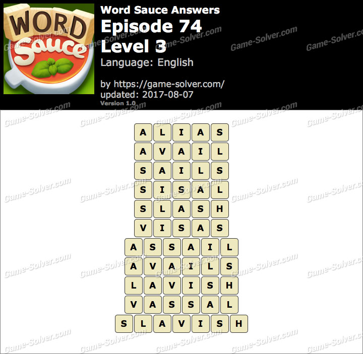 Word Sauce Episode 74-Level 3 Answers