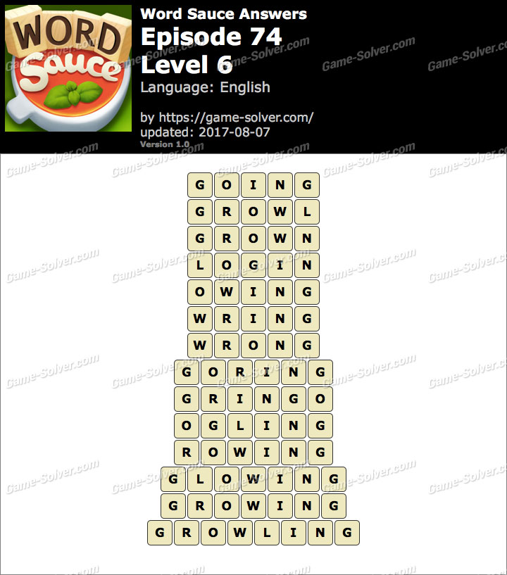 Word Sauce Episode 74-Level 6 Answers