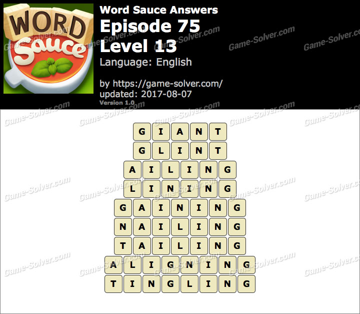 Word Sauce Episode 75-Level 13 Answers