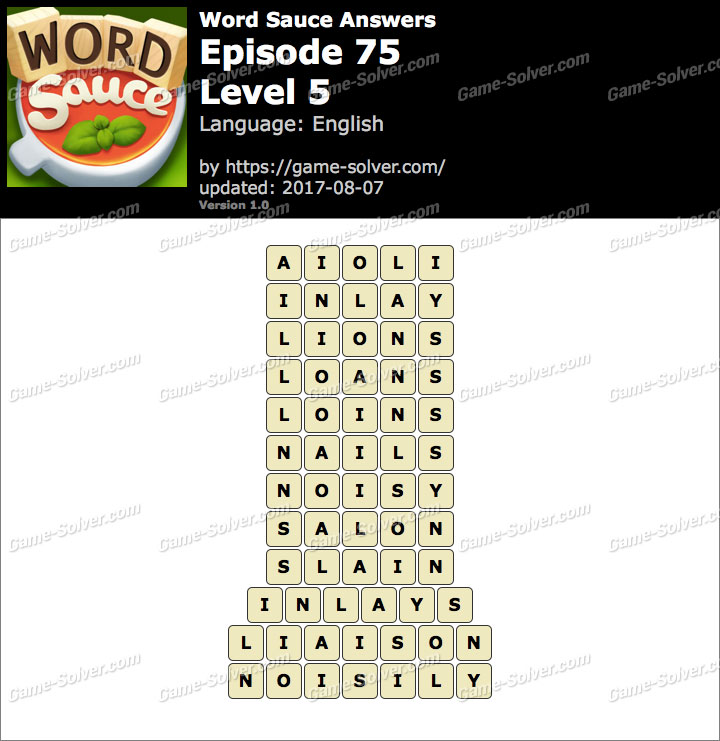 Word Sauce Episode 75-Level 5 Answers