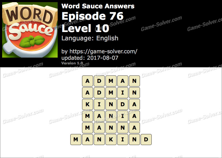 Word Sauce Episode 76-Level 10 Answers