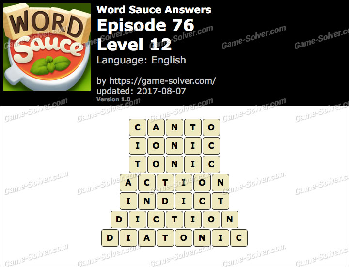 Word Sauce Episode 76-Level 12 Answers