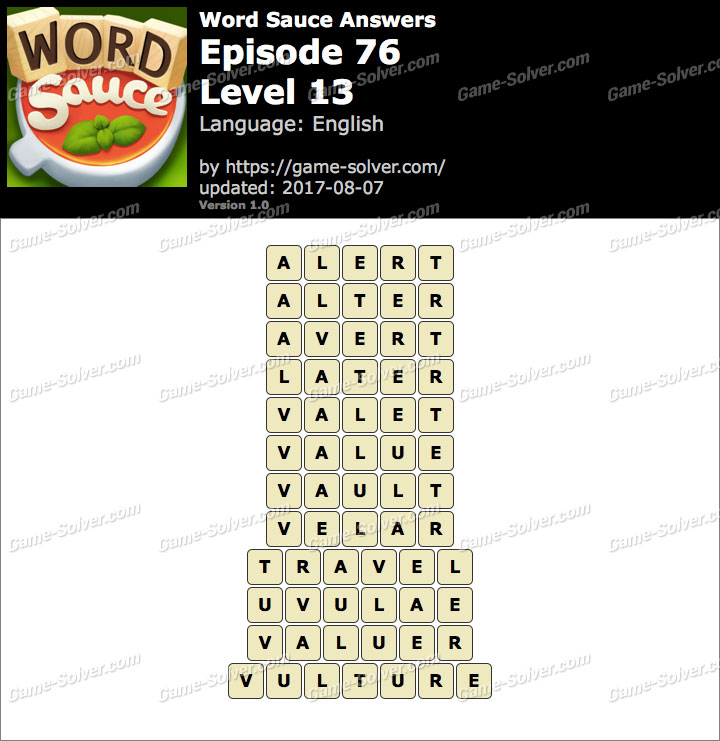 Word Sauce Episode 76-Level 13 Answers