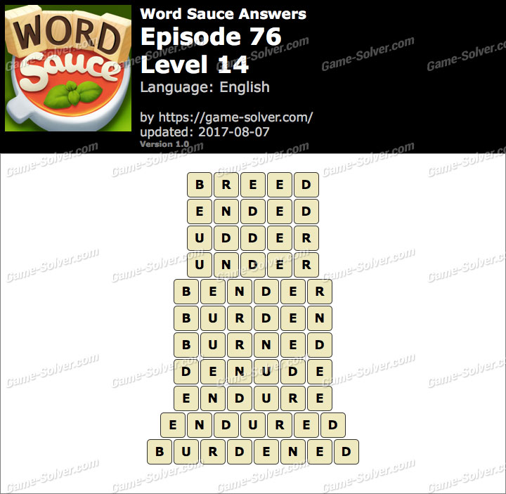 Word Sauce Episode 76-Level 14 Answers