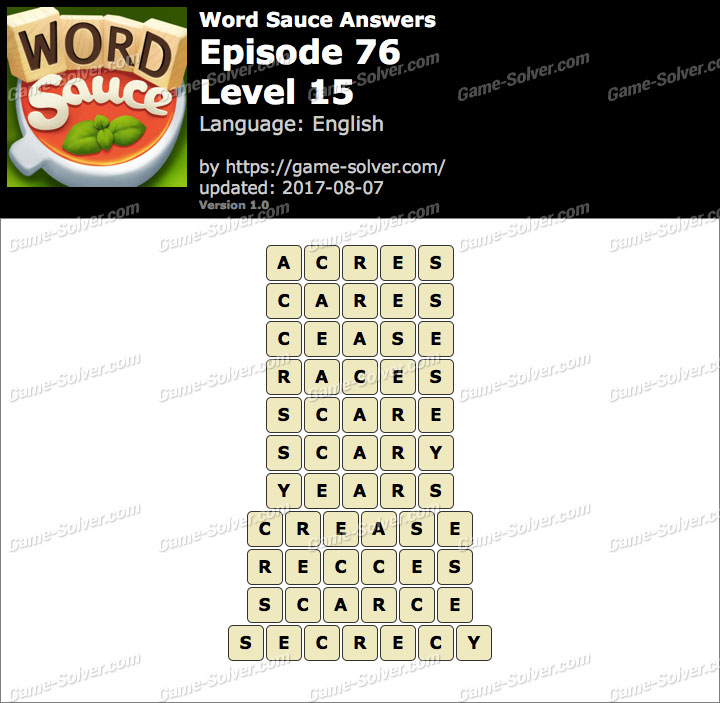 Word Sauce Episode 76-Level 15 Answers