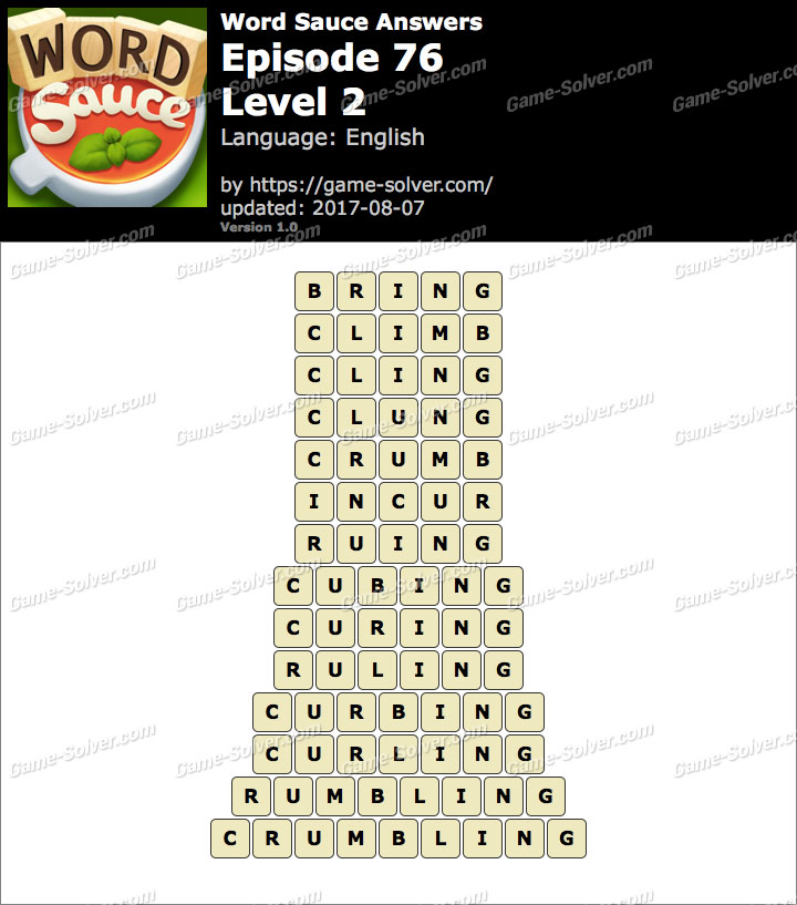 Word Sauce Episode 76-Level 2 Answers