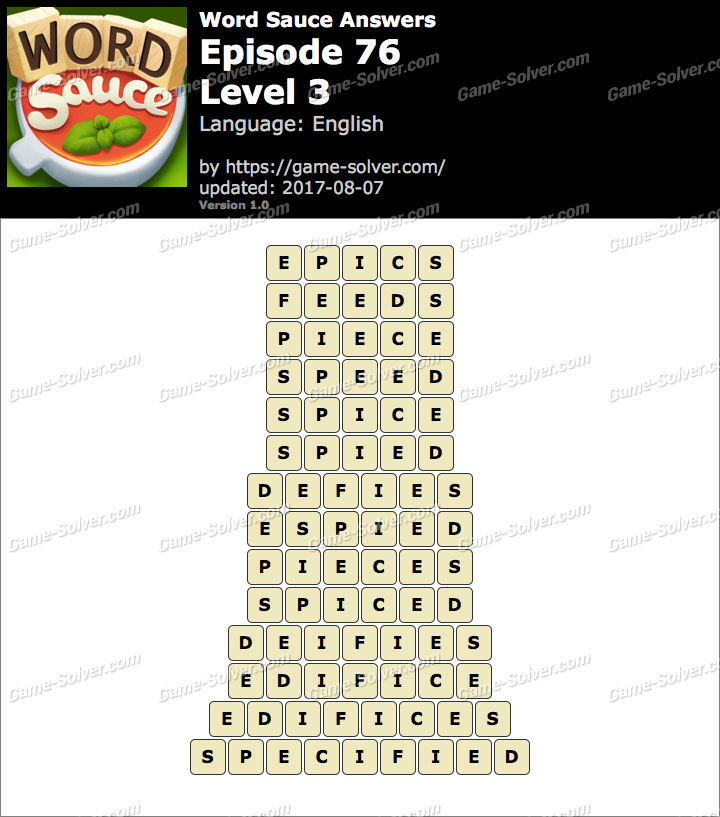 Word Sauce Episode 76-Level 3 Answers