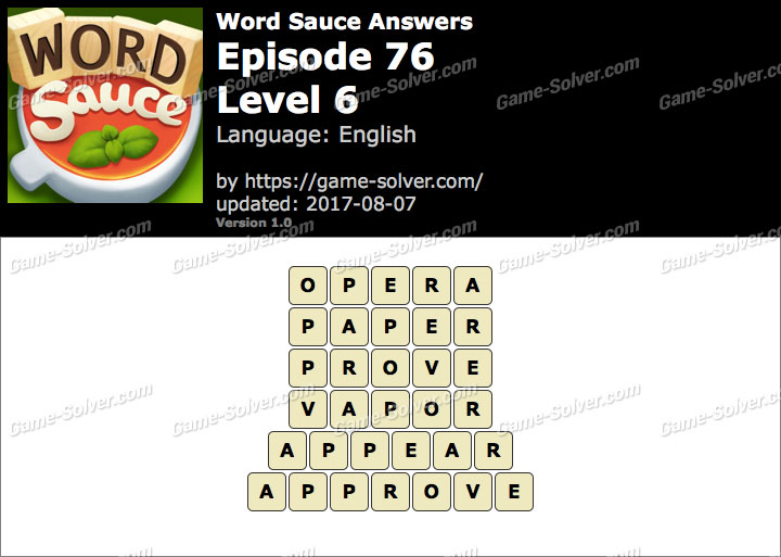 Word Sauce Episode 76-Level 6 Answers