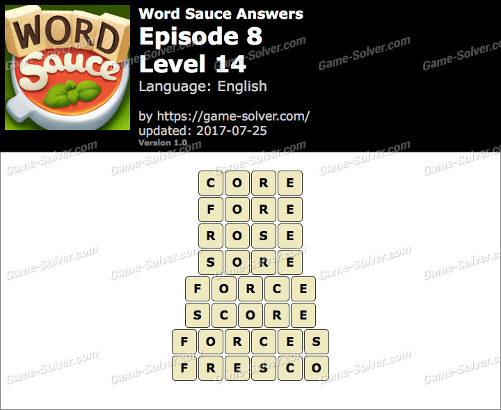 Word Sauce Episode 8-Level 14 Answers