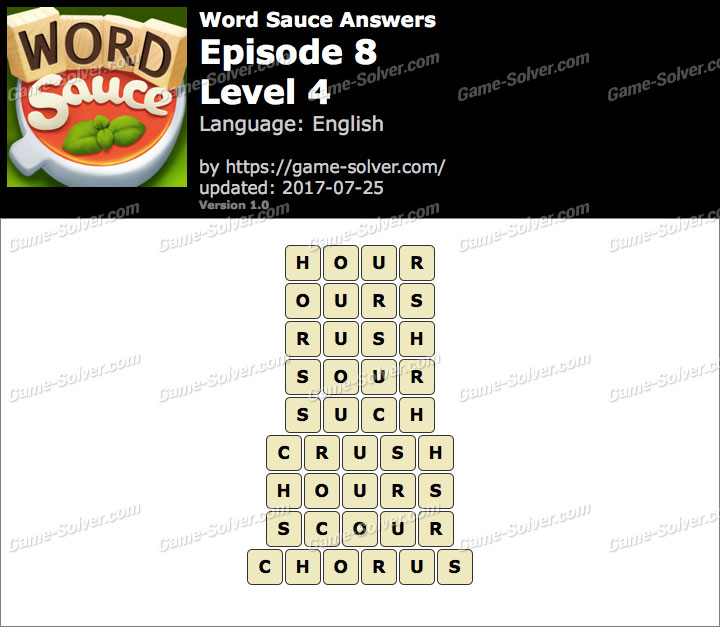 Word Sauce Episode 8-Level 4 Answers