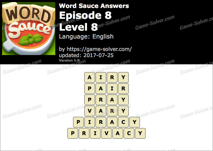 Word Sauce Episode 8-Level 8 Answers