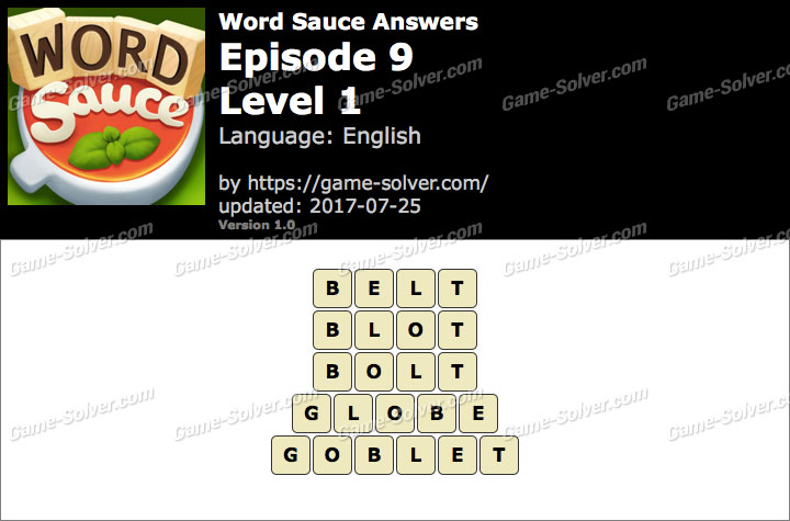 Word Sauce Episode 9-Level 1 Answers
