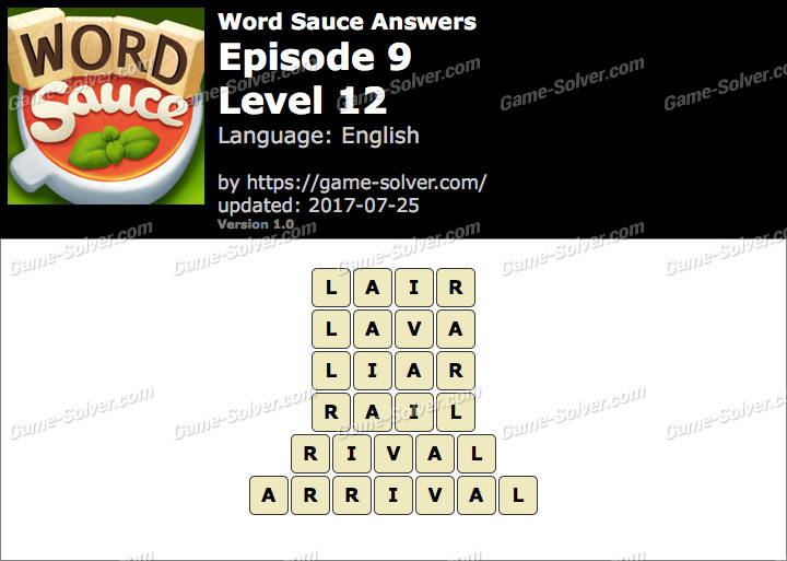 Word Sauce Episode 9-Level 12 Answers