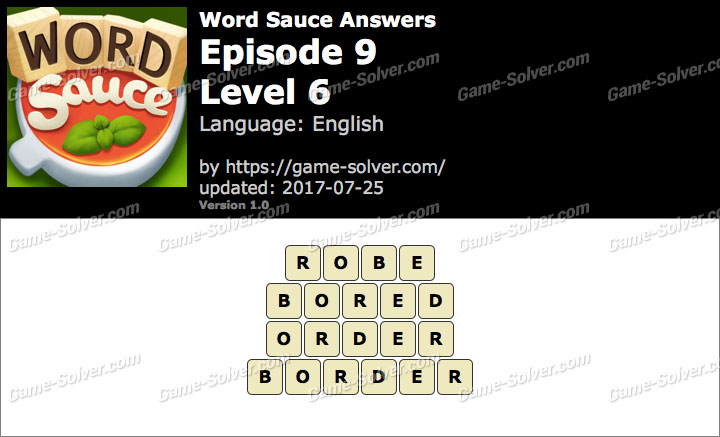 Word Sauce Episode 9-Level 6 Answers