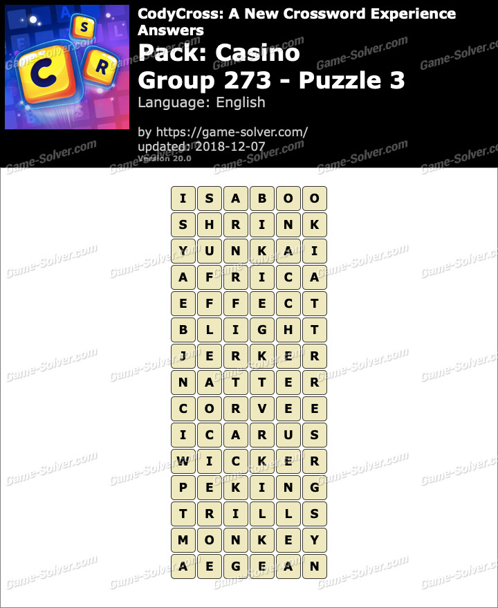 CodyCross Casino Group 273-Puzzle 3 Answers