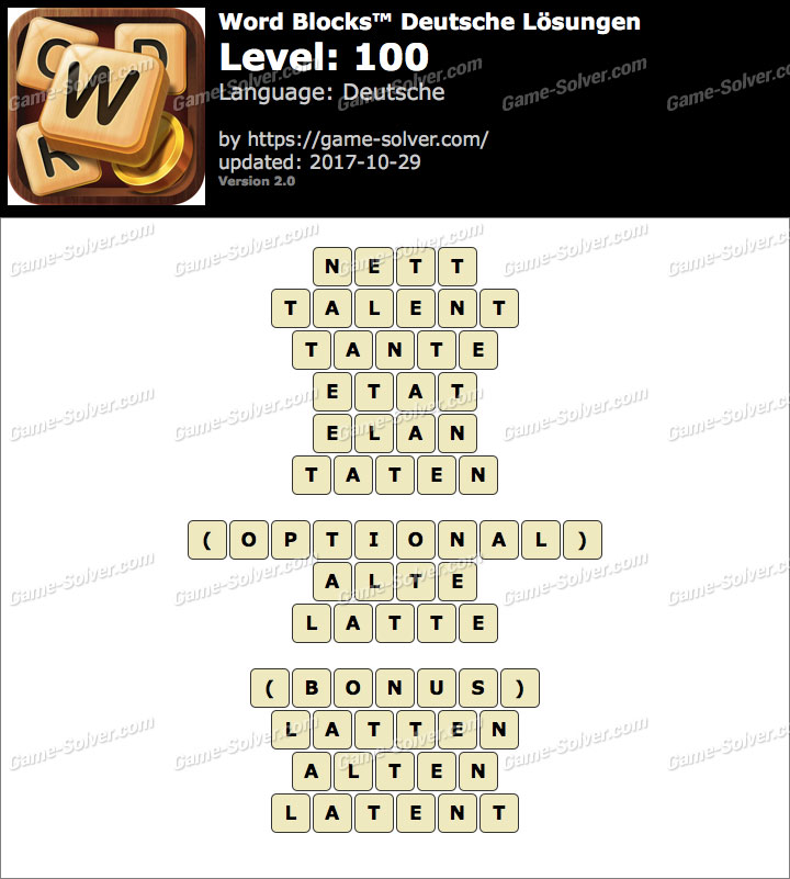 Word Blocks Level 100 Lösungen