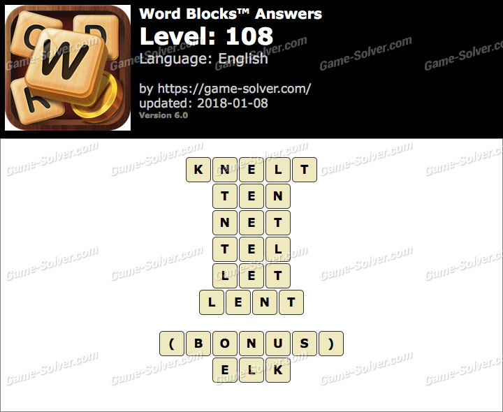 Word Blocks Level 108 Answers