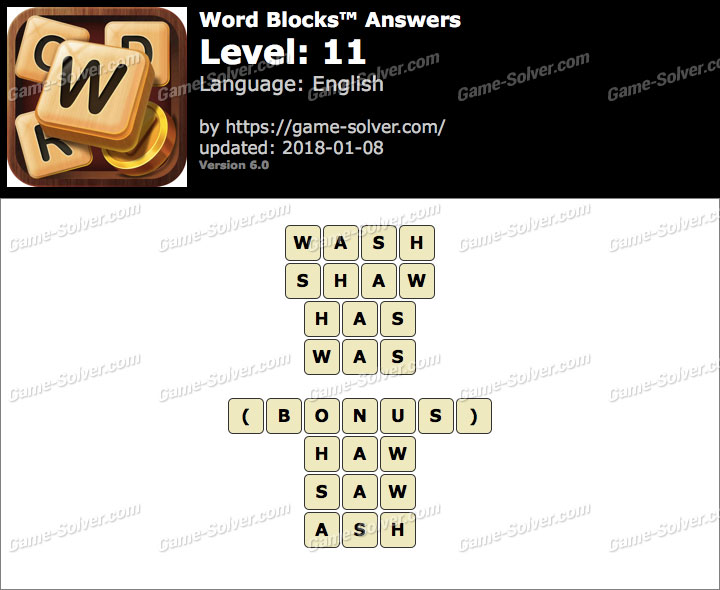 Word Blocks Level 11 Answers