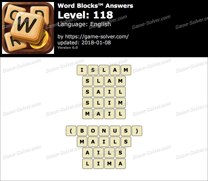 Word Blocks Level 118 Answers