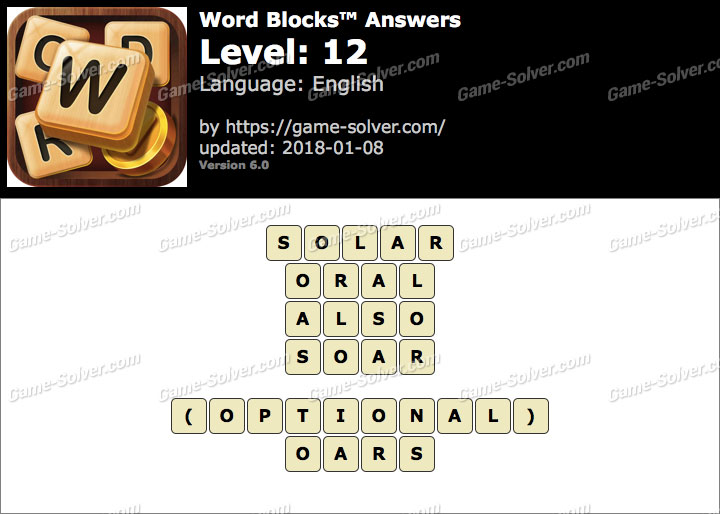 Word Blocks Level 12 Answers