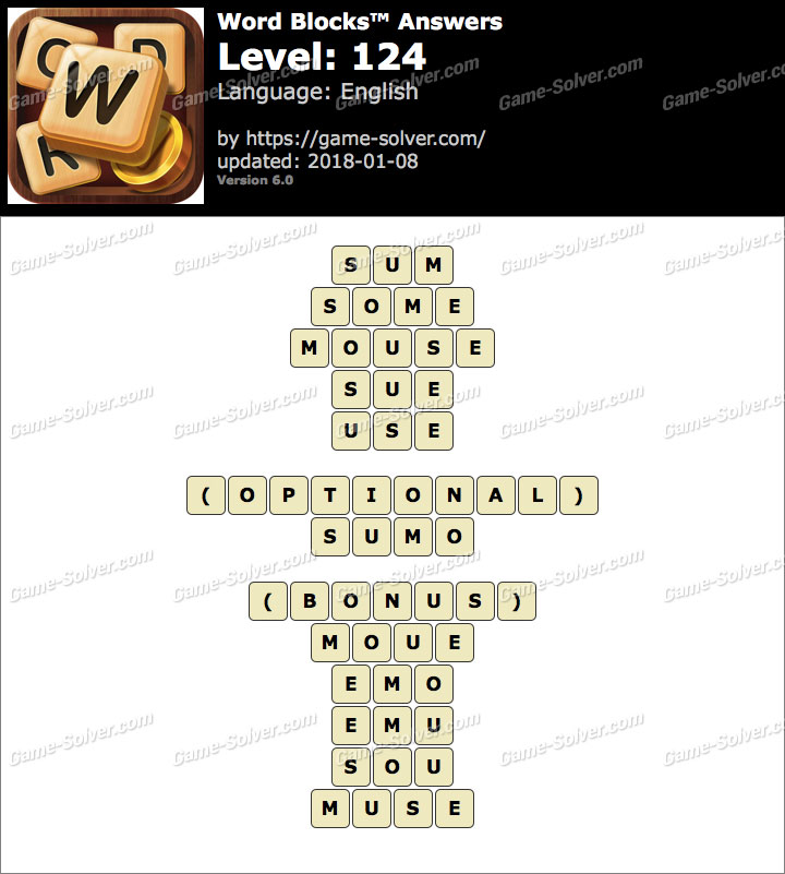 Word Blocks Level 124 Answers