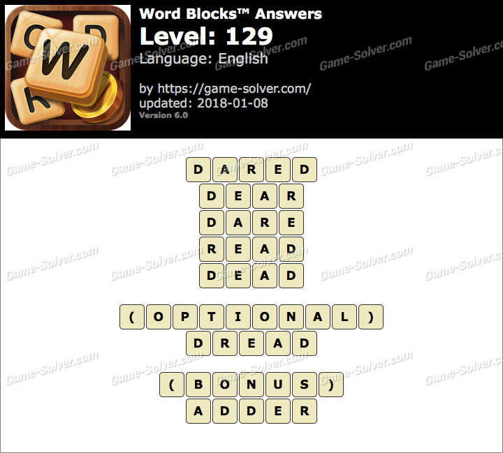 Word Blocks Level 129 Answers