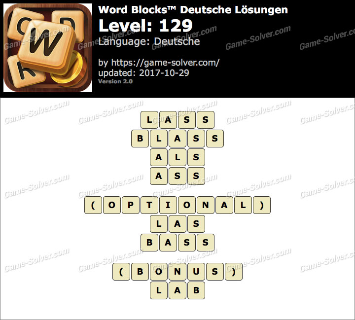 Word Blocks Level 129 Lösungen