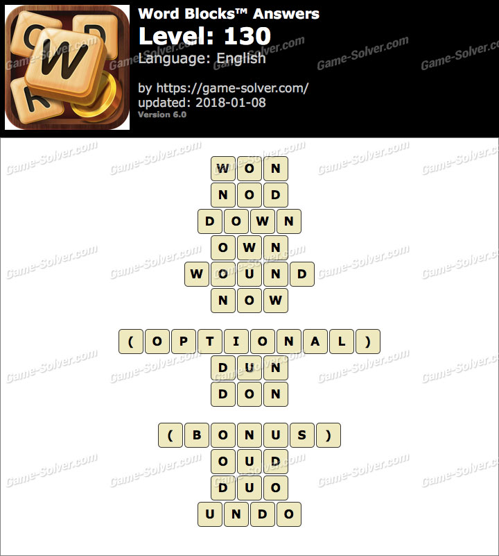 Word Blocks Level 130 Answers