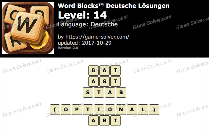 Word Blocks Level 14 Lösungen