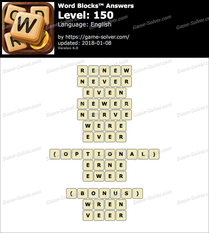 Word Blocks Level 150 Answers