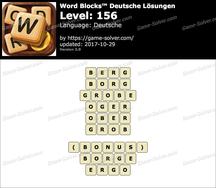Word Blocks Level 156 Lösungen