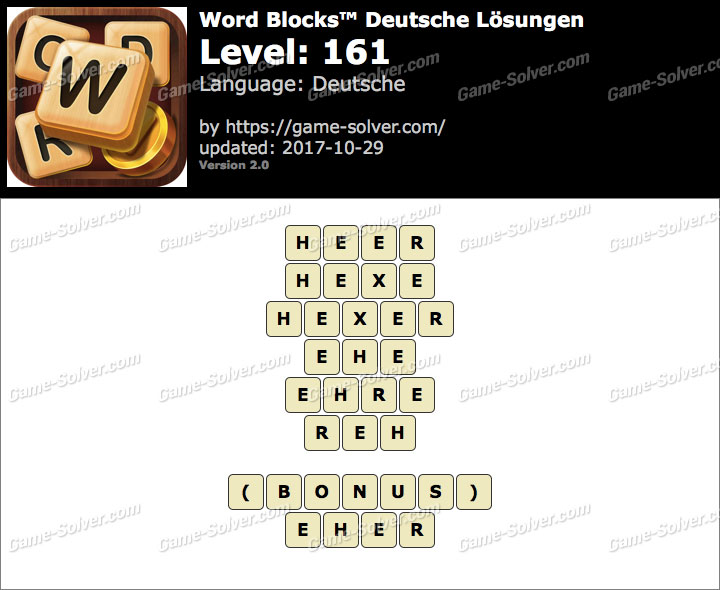 Word Blocks Level 161 Lösungen