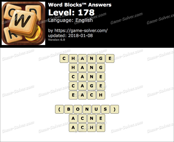 Word Blocks Level 178 Answers