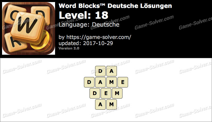 Word Blocks Level 18 Lösungen