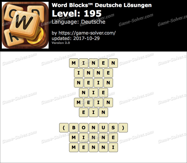 Word Blocks Level 195 Lösungen