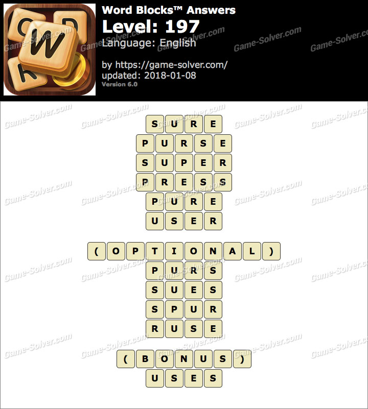 Word Blocks Level 197 Answers