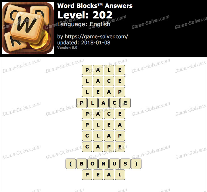 Word Blocks Level 202 Answers