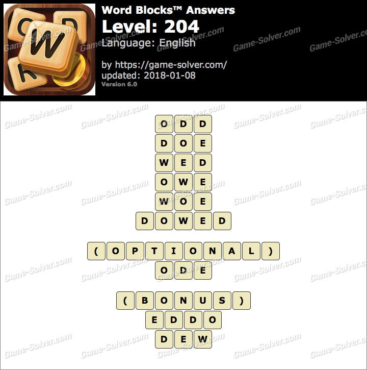 Word Blocks Level 204 Answers