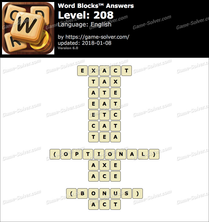 Word Blocks Level 208 Answers