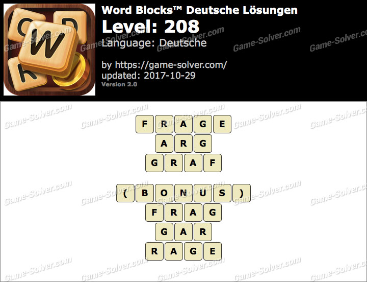 Word Blocks Level 208 Lösungen