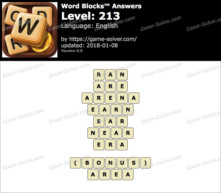 Word Blocks Level 213 Answers