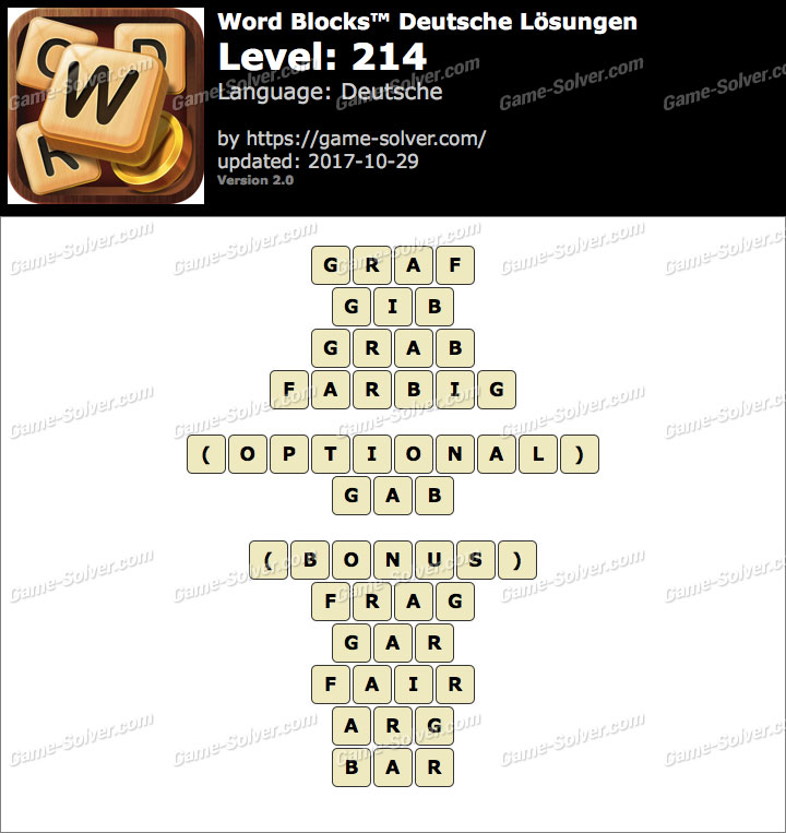 Word Blocks Level 214 Lösungen